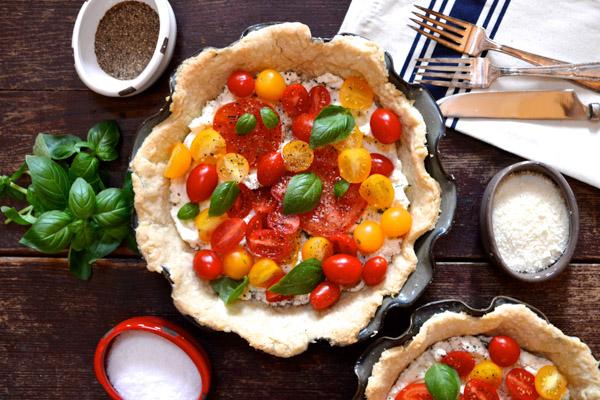 Tomato Pie-Tart with Ricotta & Fresh Basil