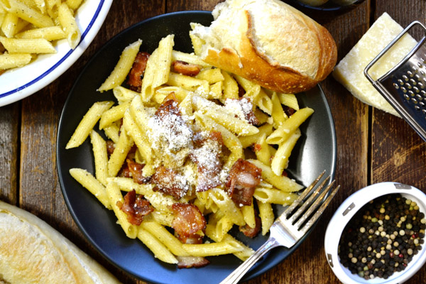 Penne with Bacon, Black Pepper & Parmesan