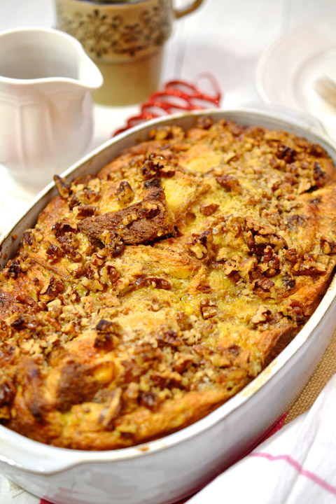 Panettone Baked French Toast with Pecan Crumble