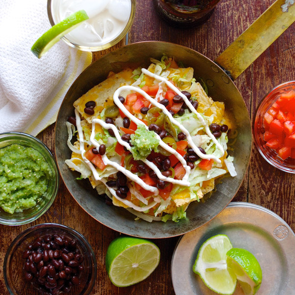Super Bowl Nachos with Black Beans & Tomatillo Salsa