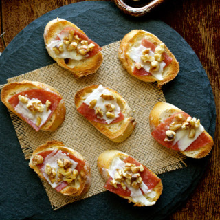 Salami Crostini with Pecorino, Walnuts & Honey