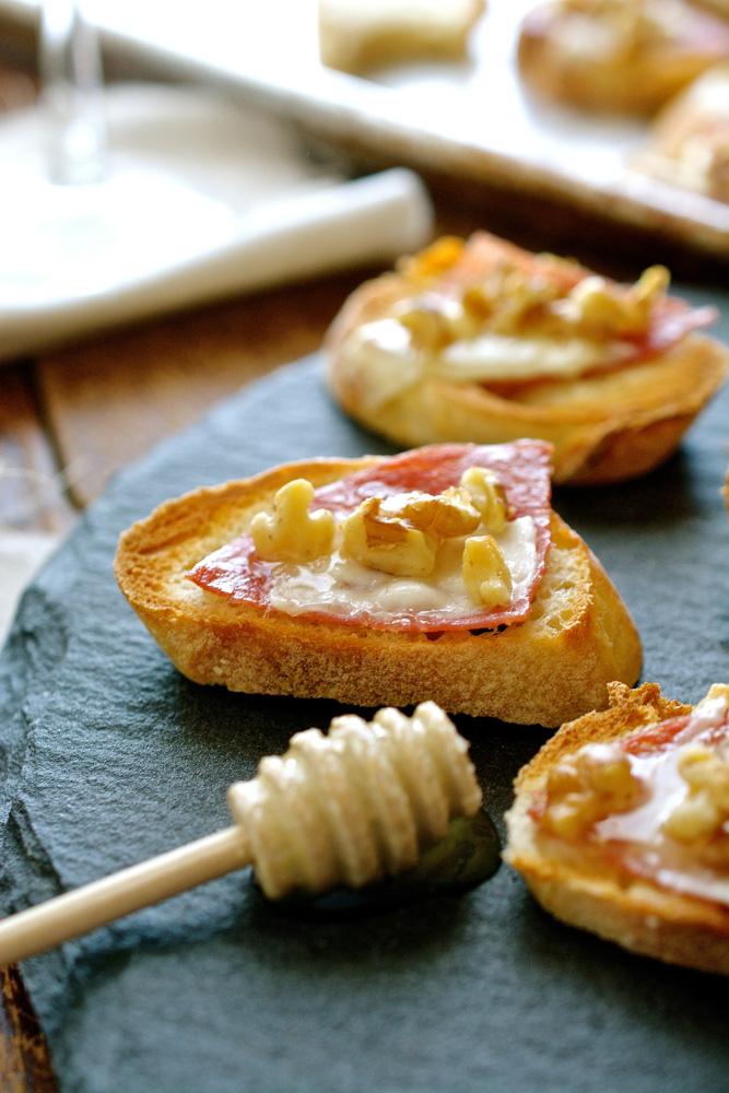 Salami Crostini with Pecorino, Walnuts & Honey