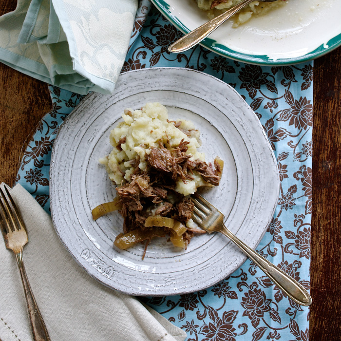 Slow Cooker Dark Beer Braised Short Ribs with Mashed Red-Skinned Potatoes