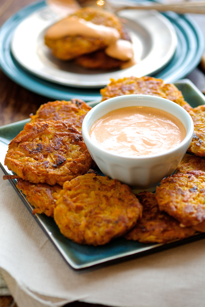 Sweet Potato Fritters with Sriracha Mayo