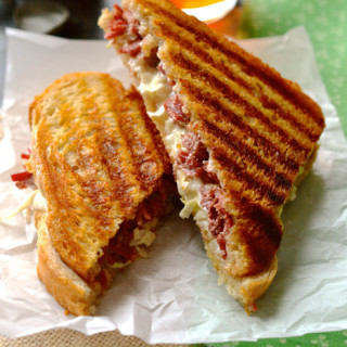 Corned Beef & Horseradish Cabbage Slaw with Dubliner Irish Cheddar Panini