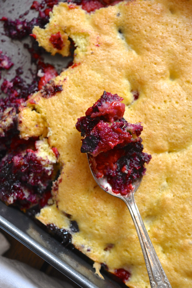 Mixed Berry Spoon Cake with Vanilla Bean Ice Cream