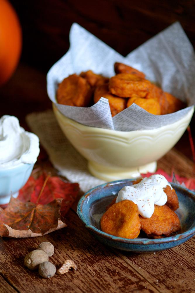 Pumpkin & Nutmeg Fritters with Vanilla Cream ciaochowbambina.com