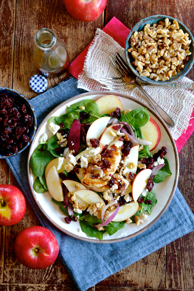 SnapDragon Apple, Walnut and Chicken Spinach Salad with Feta & Cranberry ciaochowbambina.com