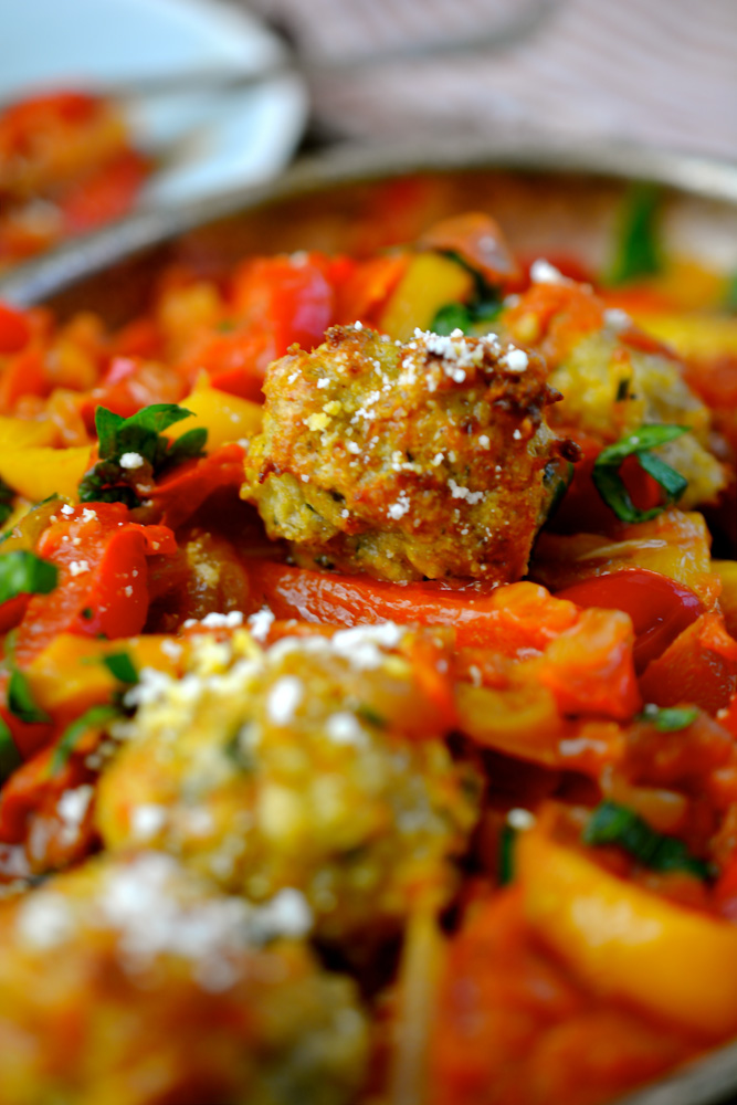 Mini Baked Chicken Meatballs with Peperonata ciaochowbambina.com