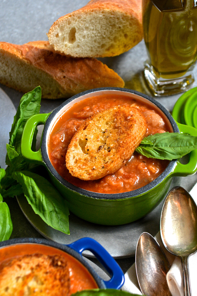 Eggplant Parmesan Soup with Homemade Garlic Croutons ciaochowbambina.com