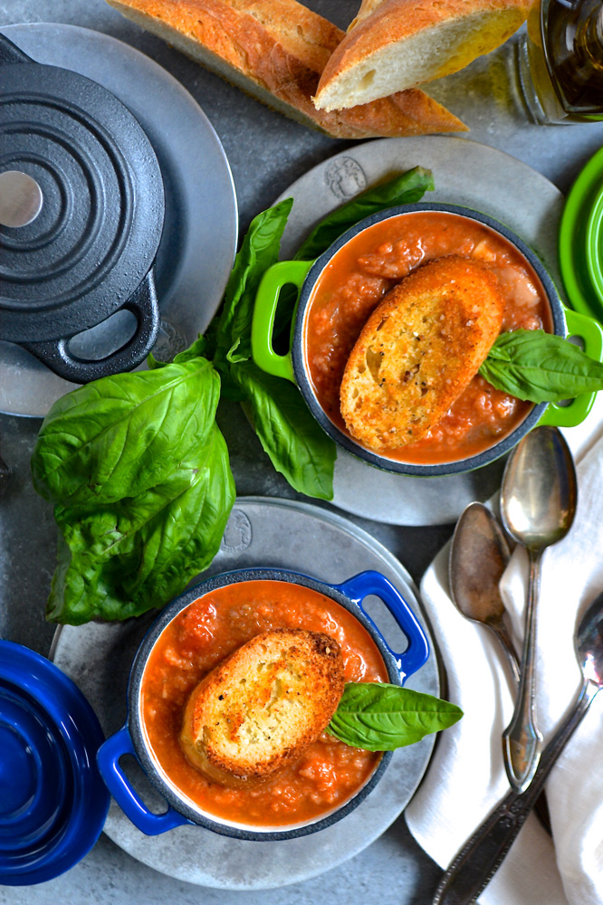 Eggplant Parmesan Soup with Homemade Garlic Croutons ciaochowbambina.com