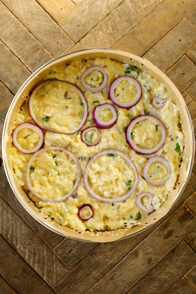 Cauliflower Cake with Pecorino Romano & Sweet Basil ciaochowbambina.com