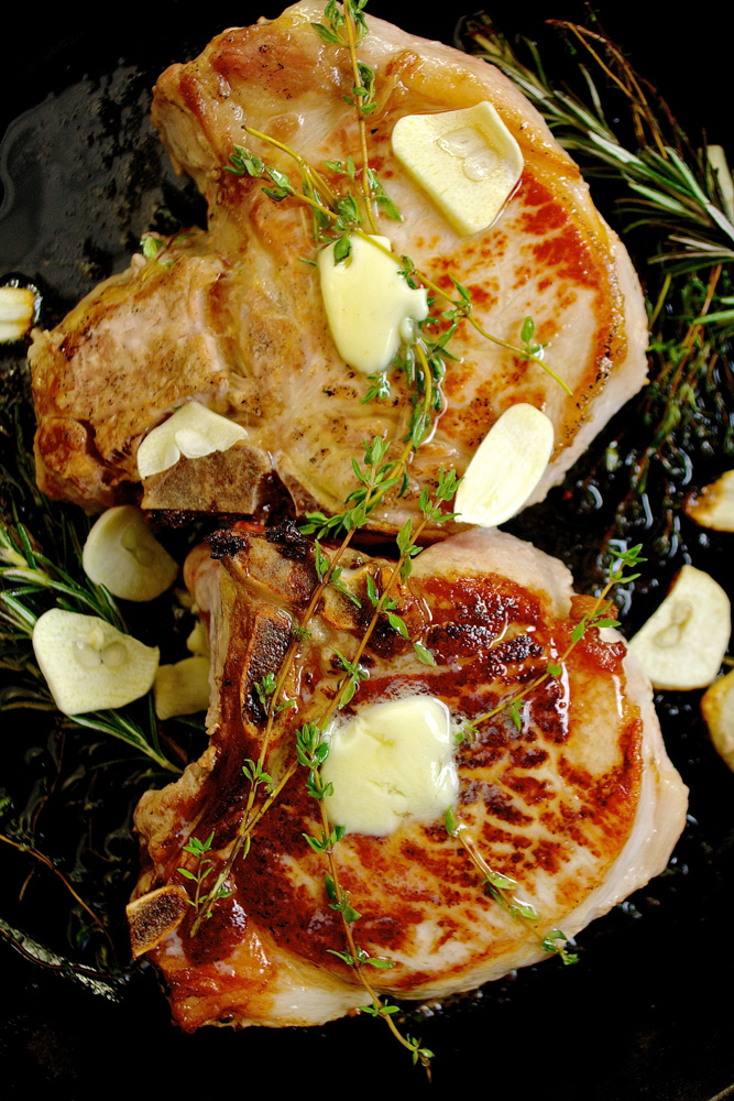 Restaurant Style Pan Seared Porterhouse Pork Chops With