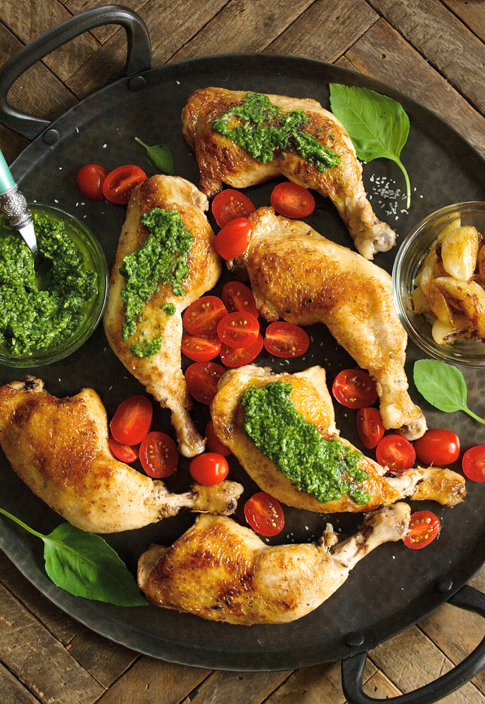Italian Chicken with Basil Pesto & Grape Tomatoes ciaochowbambina.com