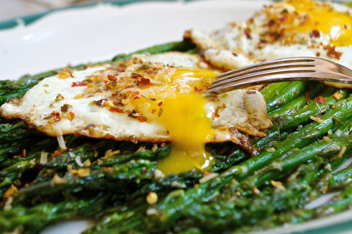 Roasted Parmesan Asparagus with Italian Herb Crispy Fried Eggs ciaochowbambina.com