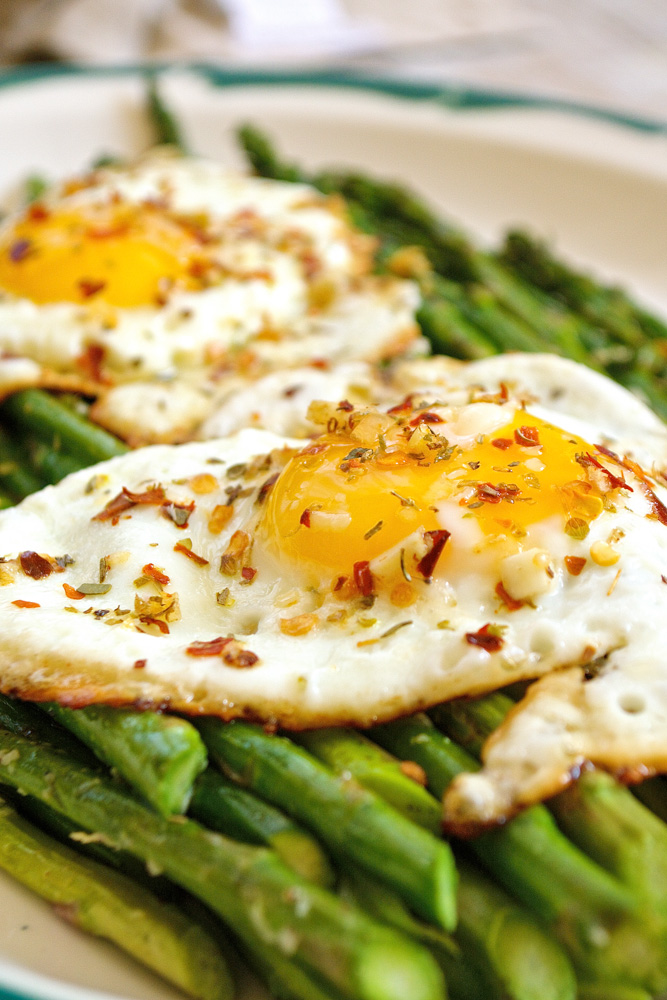 Roasted Parmesan Asparagus with Italian Herb Crispy Fried Eggs ciaochowbambina.com