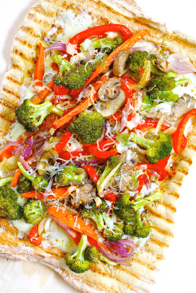 Roasted Vegetable Grilled Pizza with Garlic Herb Oil ciaochowbambina.com