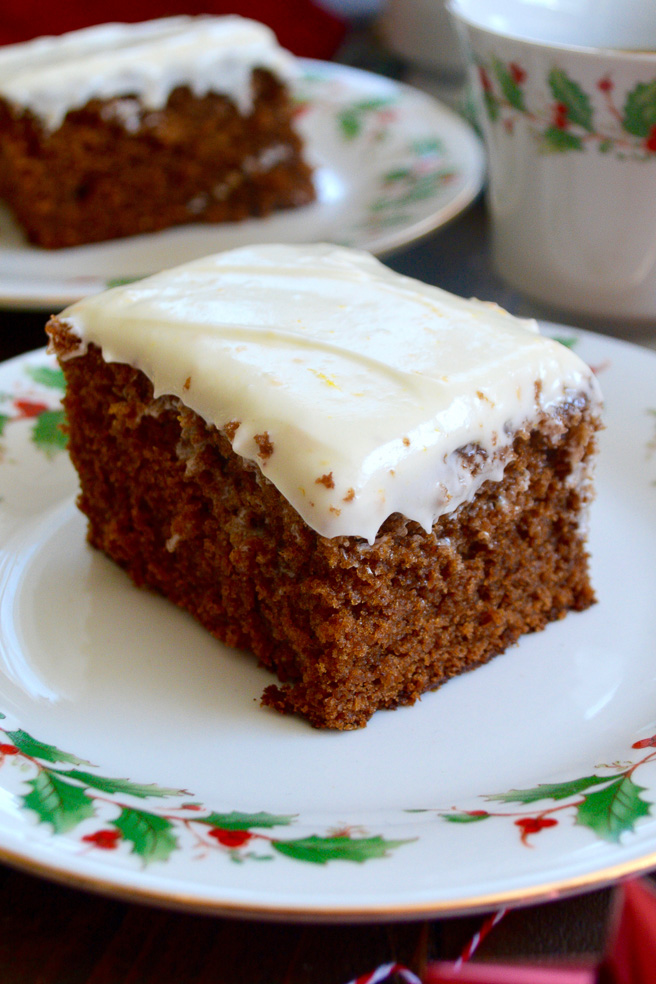 Sticky Gingerbread with Orange Icing