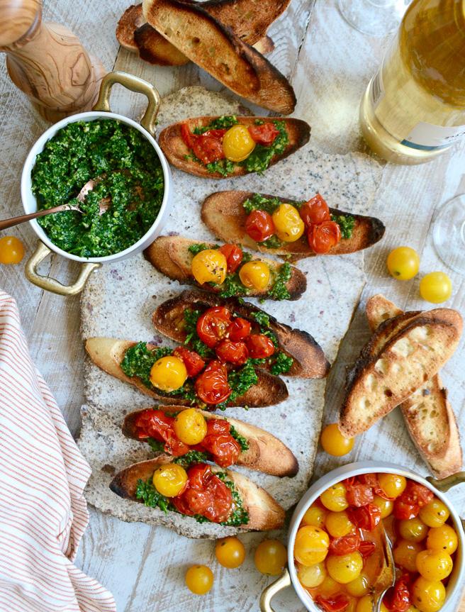 Parsley Pesto and Burst Heirloom Cherry Tomato Crostini ciaochowbambina.com