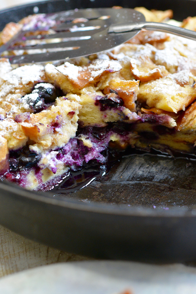 Cast Iron Blueberry Stuffed Bread Pudding - Ciao Chow Bambina