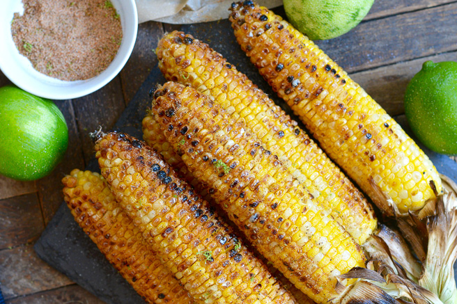Grilled Corn on the Cob with Spicy Lime Seasoned Salt ciaochowbambina.com