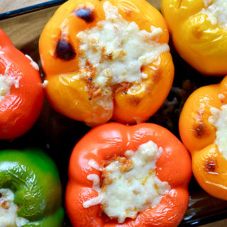 Homemade Stuffed Bell Peppers with Mini Meatballs and Fontina Cheese ciaochowbambina.com