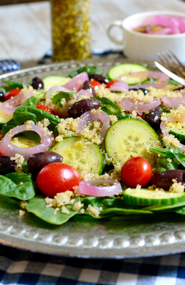 Quinoa and Spinach Salad with Spicy Pickled Onions and ...