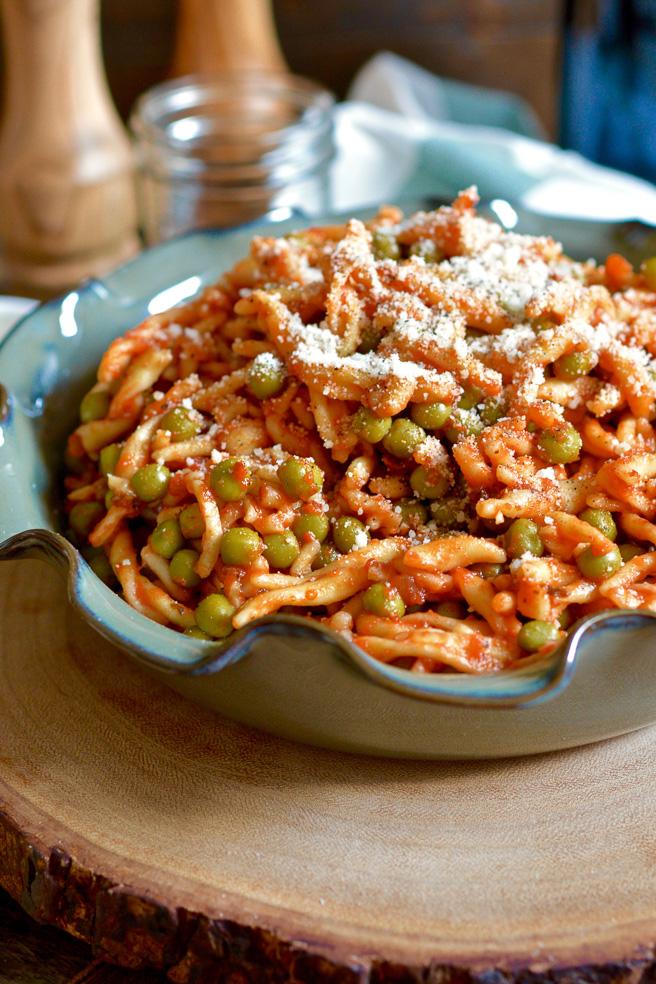 Strozzapreti with Sweet Peas and Parmesan ciaochowbambina.com