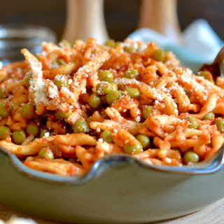 Strozzapreti with Sweet Peas and Parmesan ciaochowbambina.com