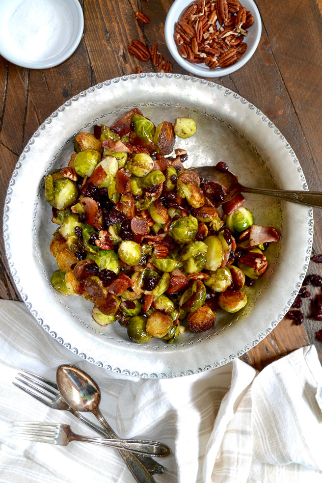 Cast Iron Brussels Sprouts with Bacon, Pecan and Cranberry ciaochowbambina.com