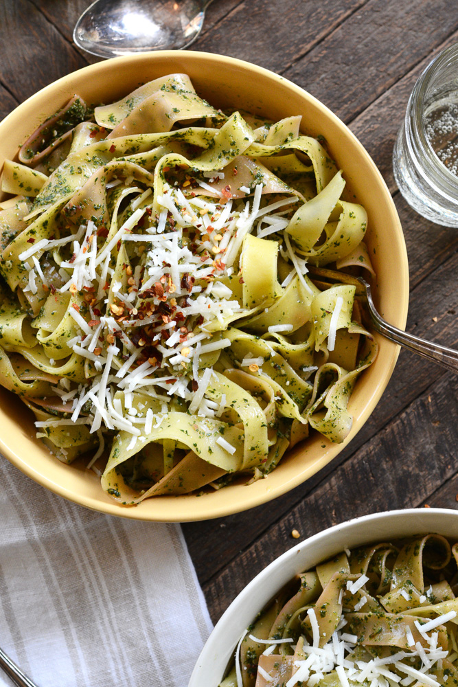 pappardelle-with-lemony-swiss-chard-pesto-with-pecorino-pine-nuts ciaochowbambina.com