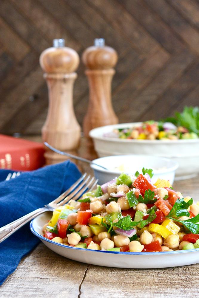 Chopped Chickpea Salad with Italian Vinaigrette ciaochowbambina.com