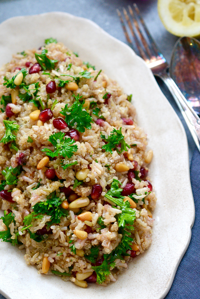 Quinoa and Brown Rice Salad with Pomegranate & Pignoli ciaochowbambina.com