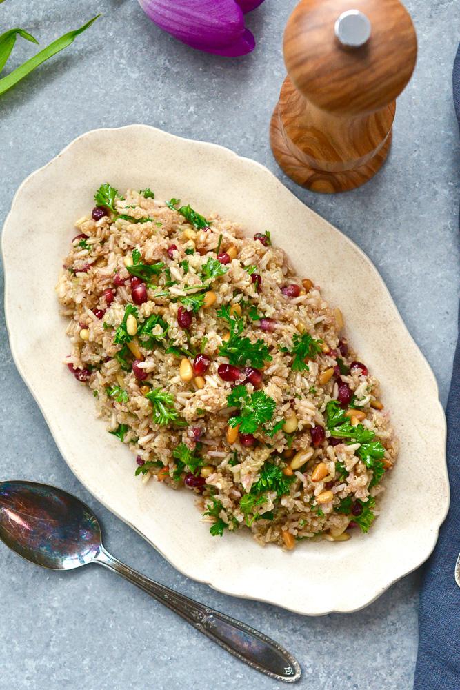 Quinoa and Brown Rice Salad with Pomegranate & Pignoli ciaochowbambina.com