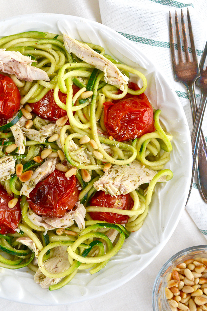 Pesto Chicken with Roasted Tomato & Pine Nut Zucchini Noodle Bowls ciaochowbambina.com