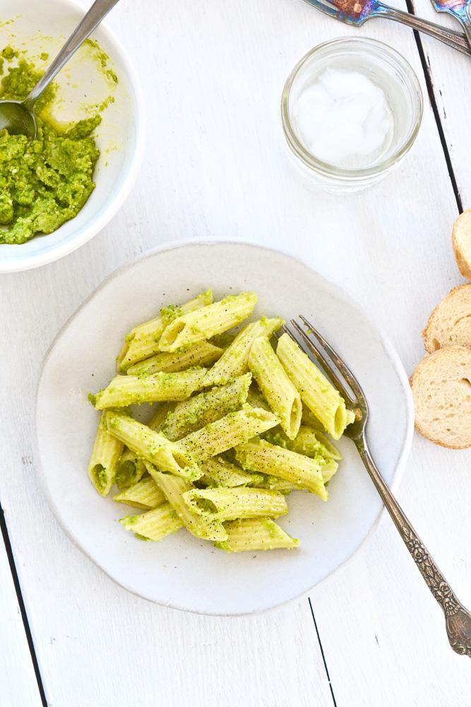Sweet Pea Pesto Penne Rigate ciaochowbambina.com