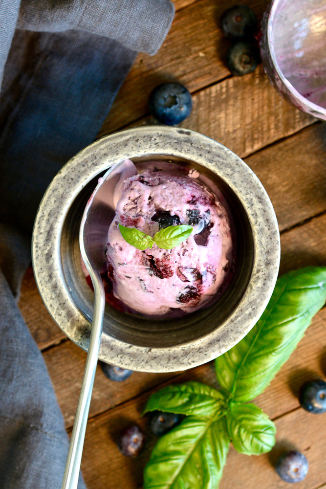 Blueberry Basil No-Churn Ice Cream ciaochowbambina.com