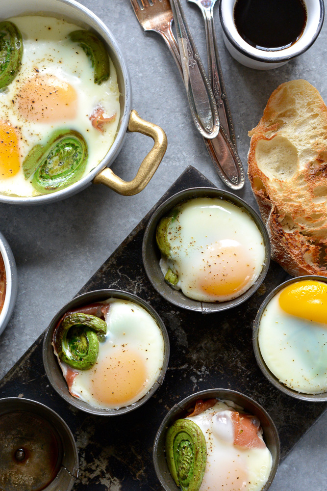 Spicy Baked Eggs with Fiddleheads & Prosciutto ciaochowbambina.com