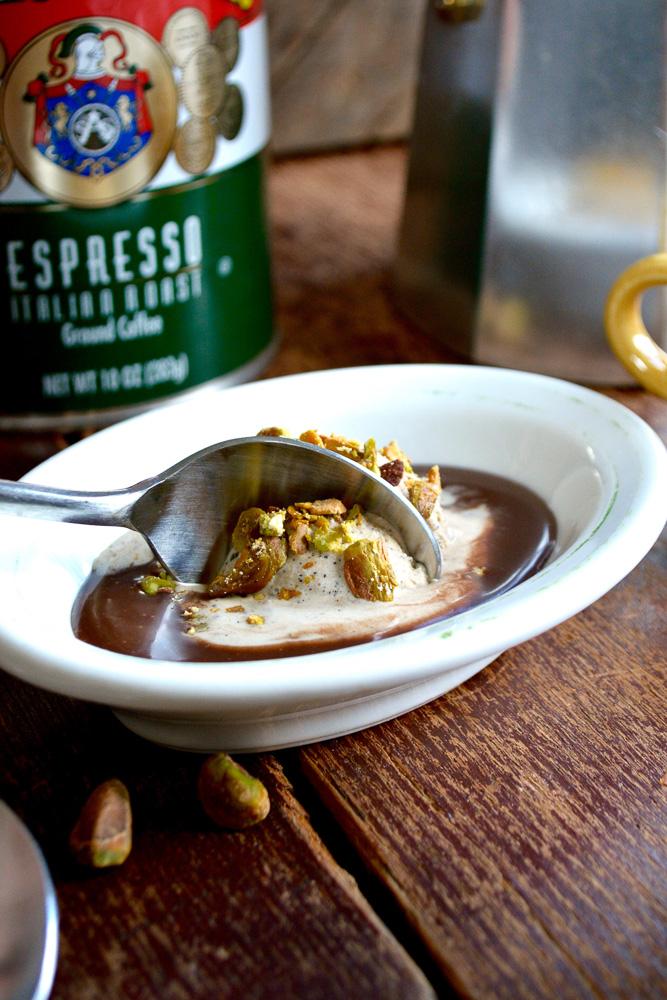 Espresso Ice Cream Tartufo with Milk Chocolate & Pistachio ciaochowbambina.com