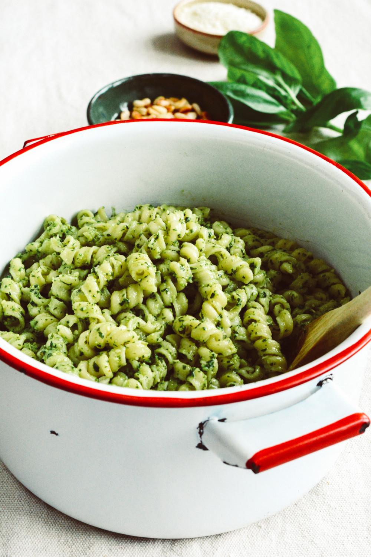 Farmers' Market Pasta with Basil Pesto and Pine Nuts ciaochowbambina.com