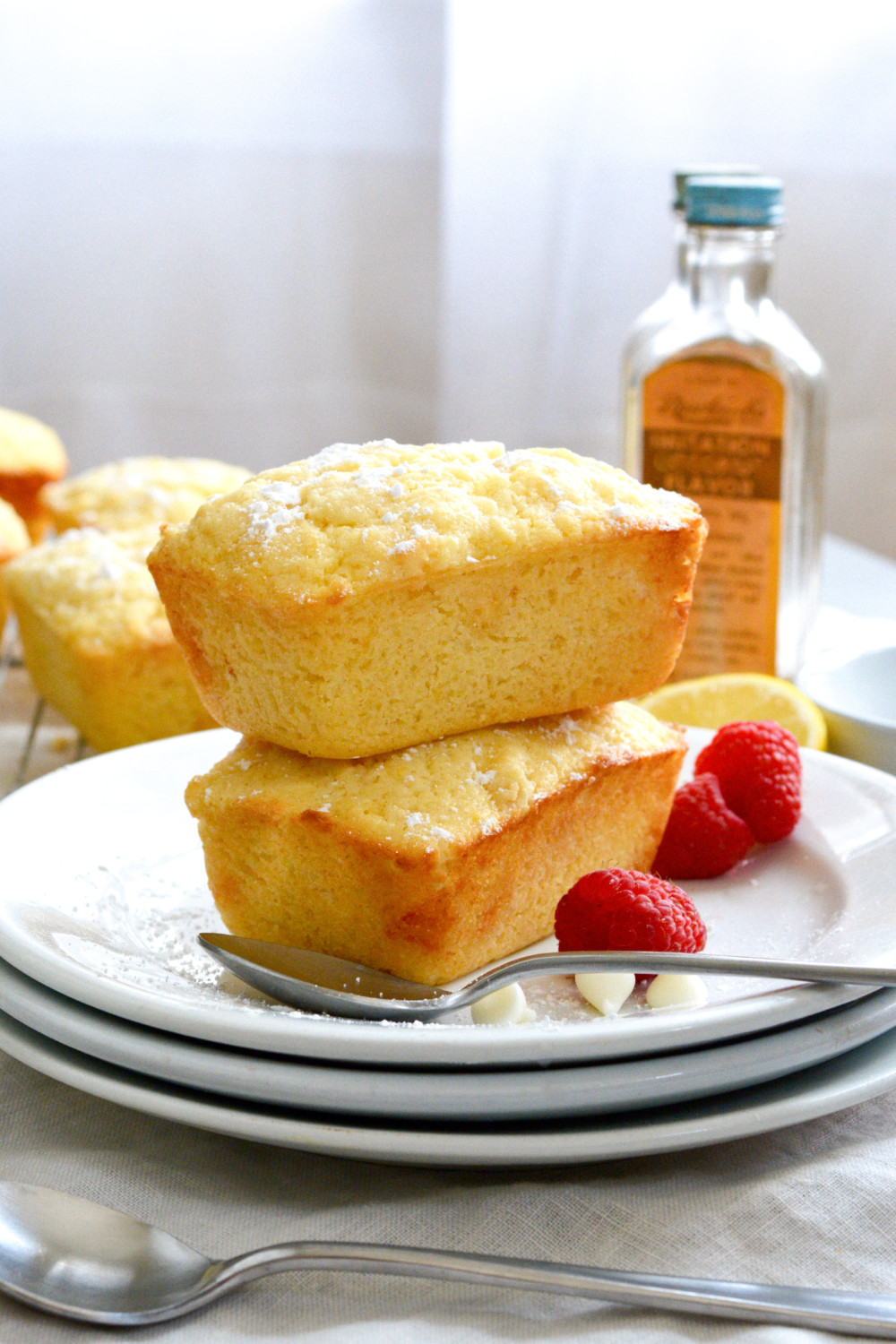 Mini Lemon Loaf Cakes with White Chocolate Chips ciaochowbambina.com