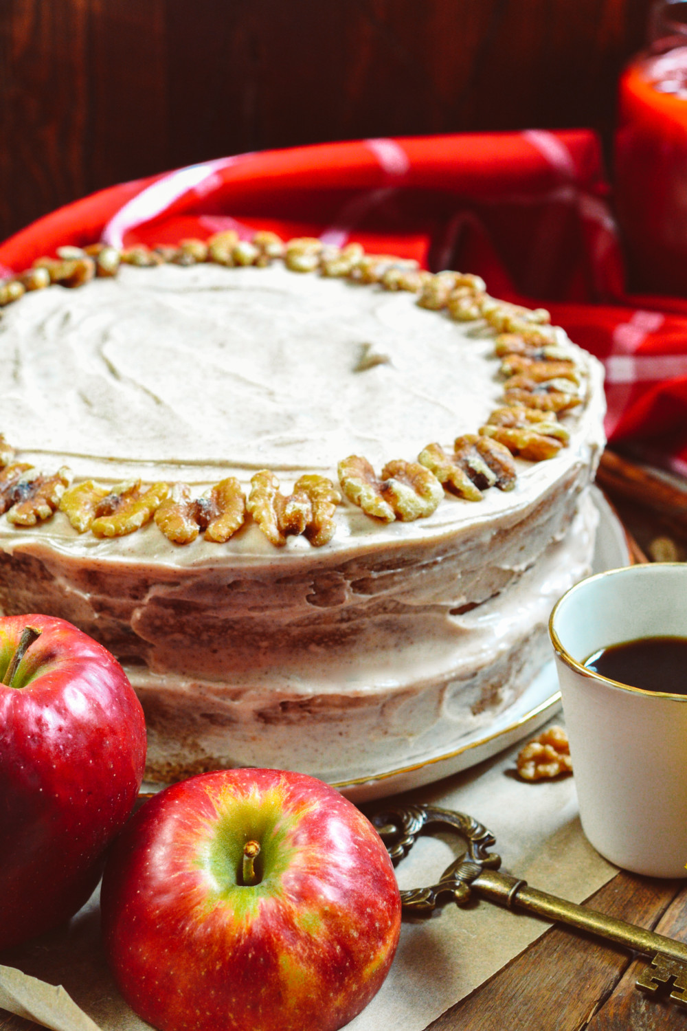 Apple Walnut Cake with Cinnamon Cream-Cheese Frosting ciaochowbambina.com