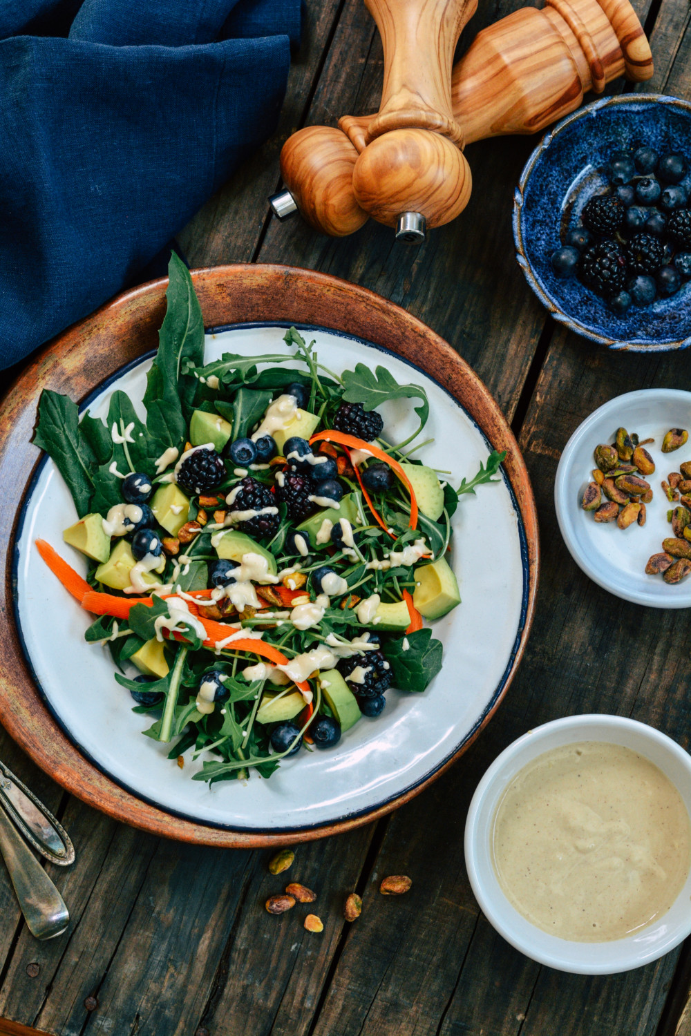 Wintery Greens with Avocado, Berries, Pistachios and Tahini Dressing ciaochowbambina.com