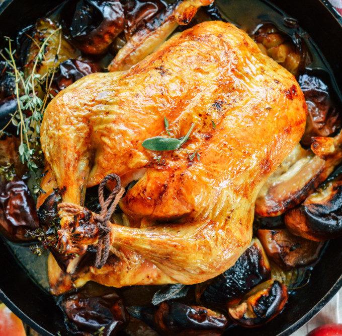 Cast Iron Roast Chicken with Apple, Onion & Sage ciaochowbambina.com