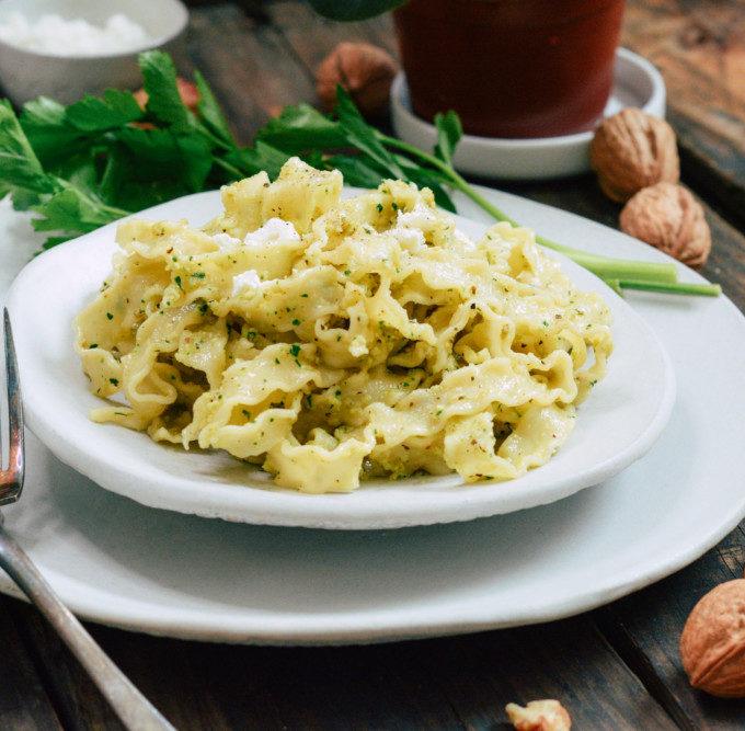 Pasta with Herbed Walnut Sauce ciaochowbambina.com